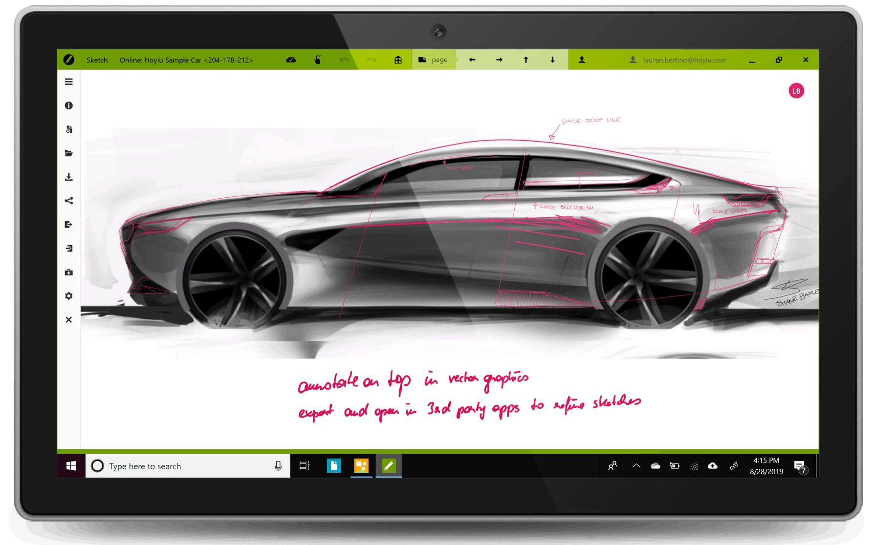 Hoylu Connected Workspaces™ application car sketch displayed on Windows surface tablet