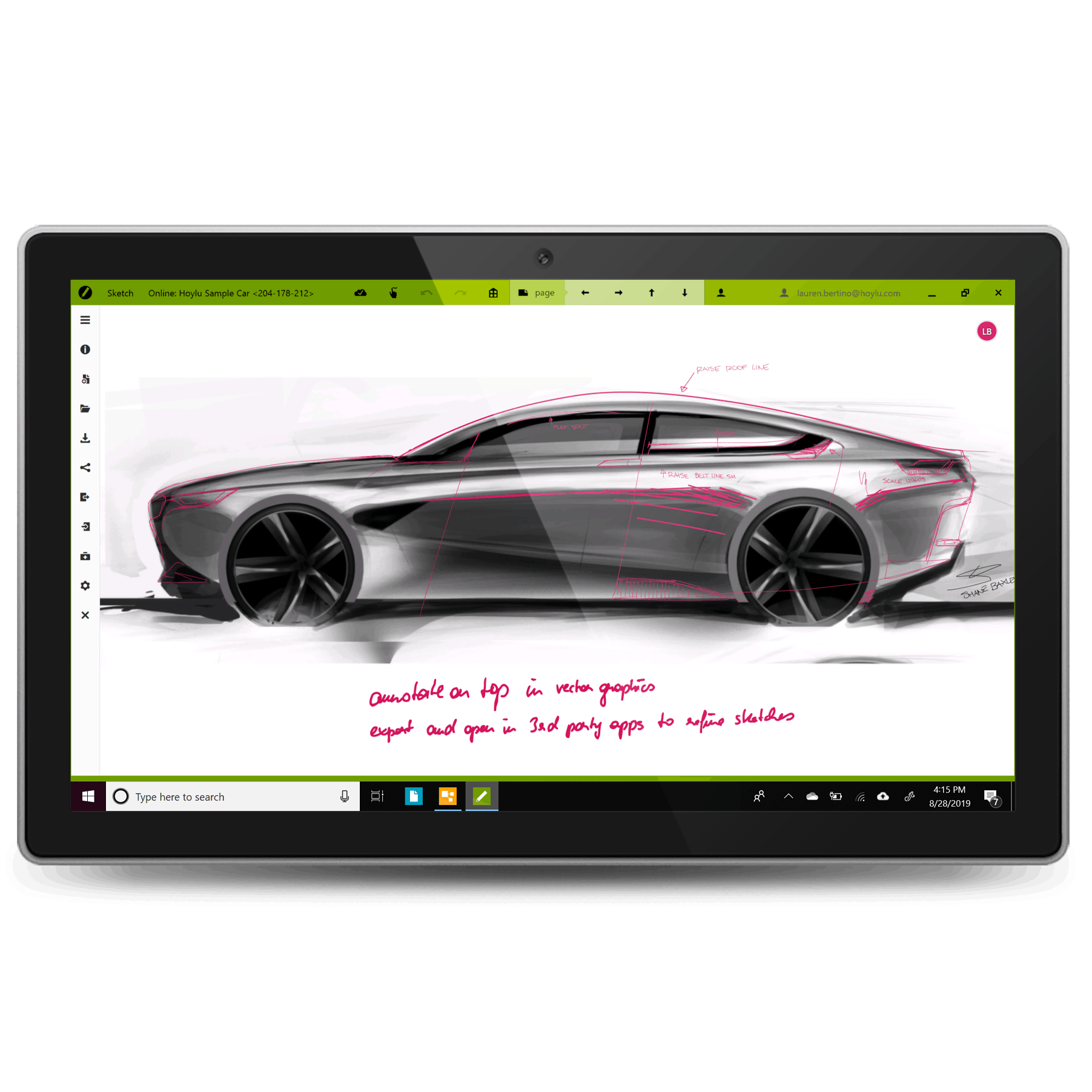 A drawing of a car made on Hoylu Sketch software