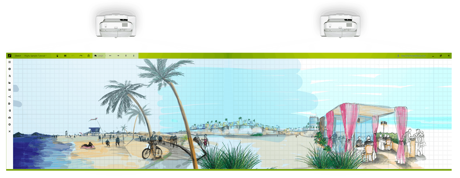 Hoylu Connected Workspaces™ application beach scene sketch displayed on HoyluWall digital board