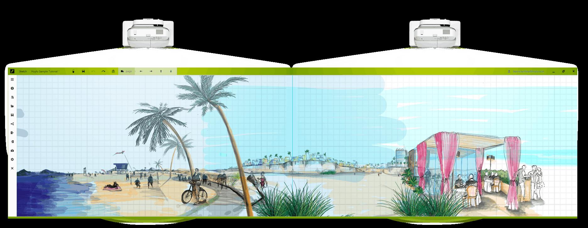 Hoylu Connected Workspaces™ application beach scene sketch displayed on HoyluWall digital board