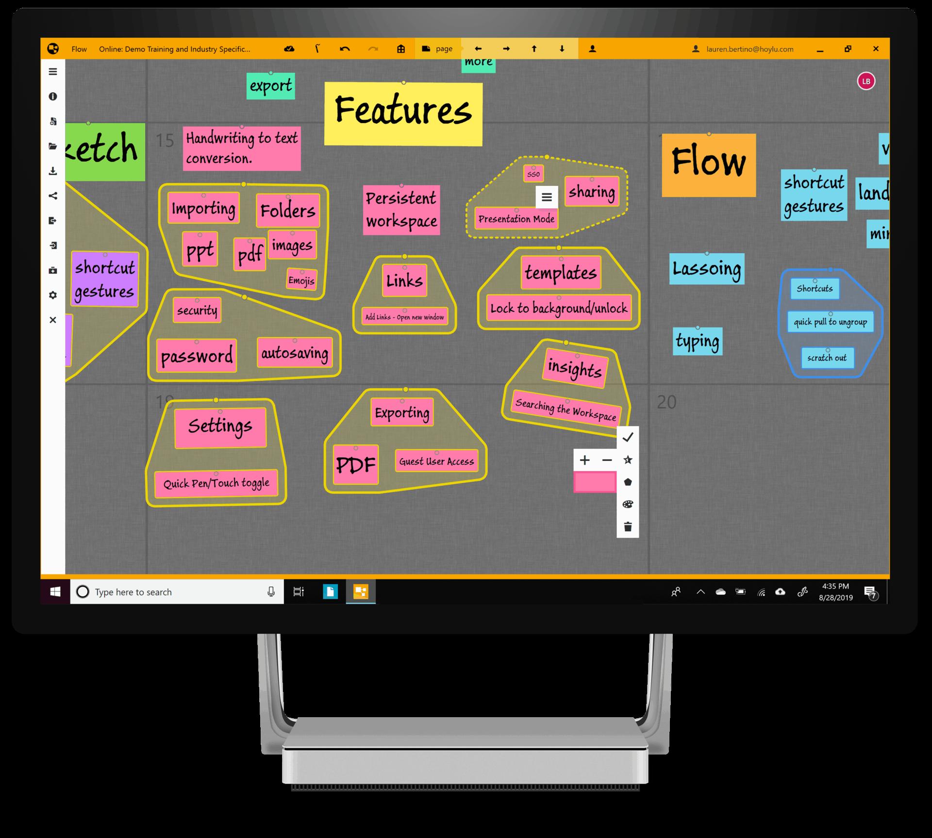 Hoylu Connected Workspaces™ application process flows displayed on Windows desktop
