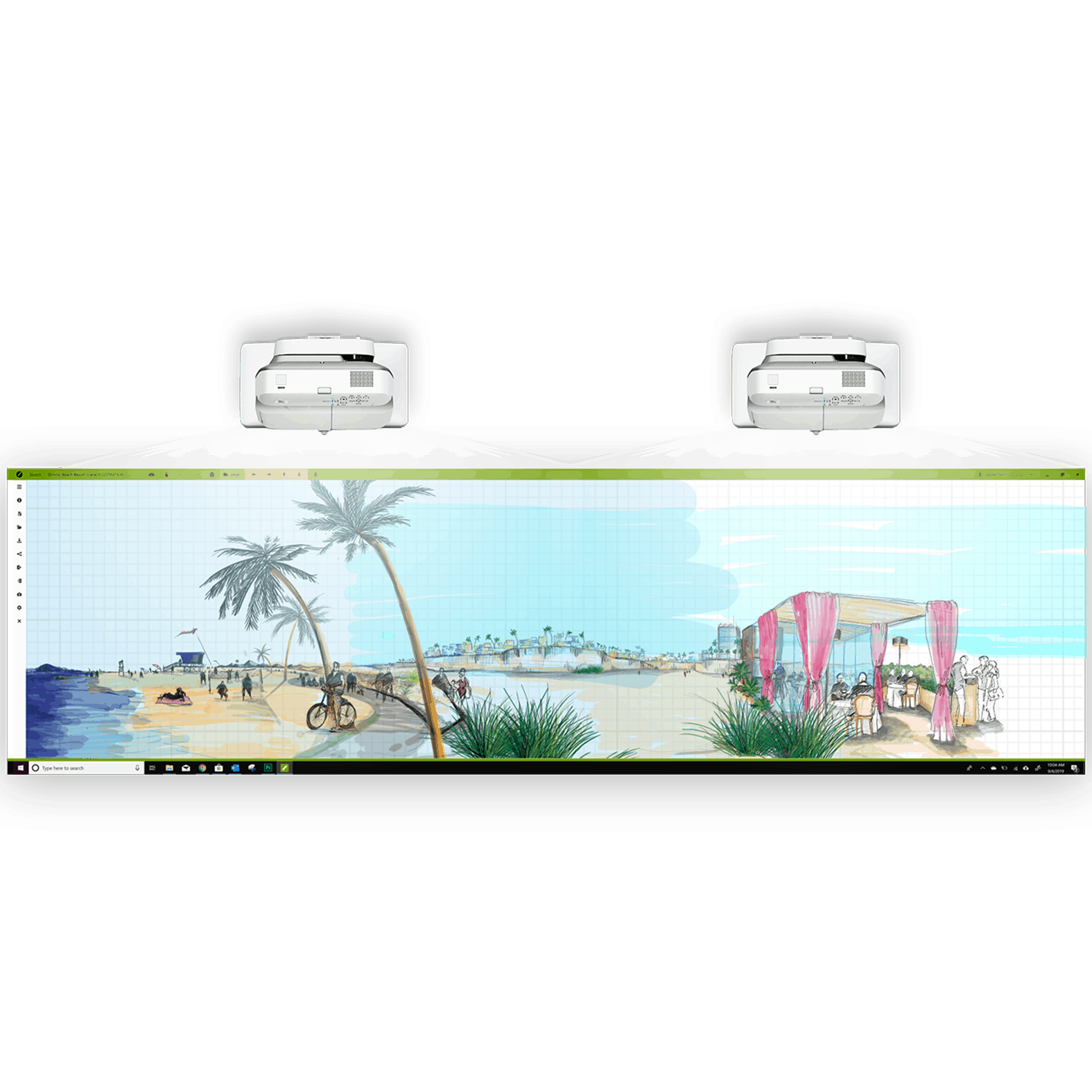 A drawing of a beach scene made on Hoylu Sketch software with HoyluWall