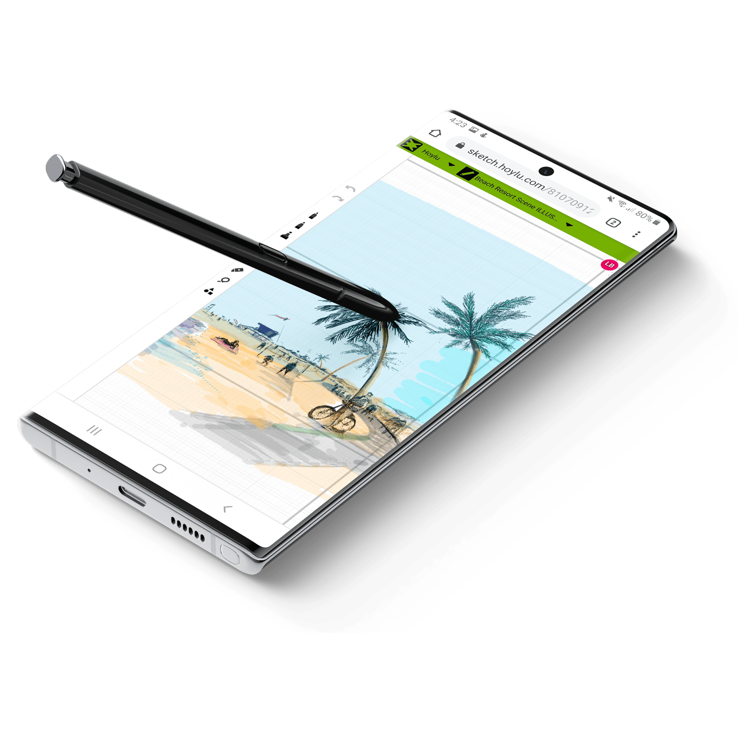 Hoylu Connecated Workspaces™ application displayed on pen-enabled smartphone